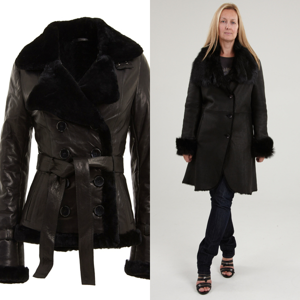 Womens Black Leather and Sheepskin Belted Coat