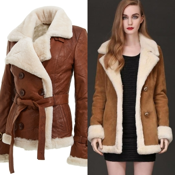 Womens Brown Leather and Sheepskin Belted Coat